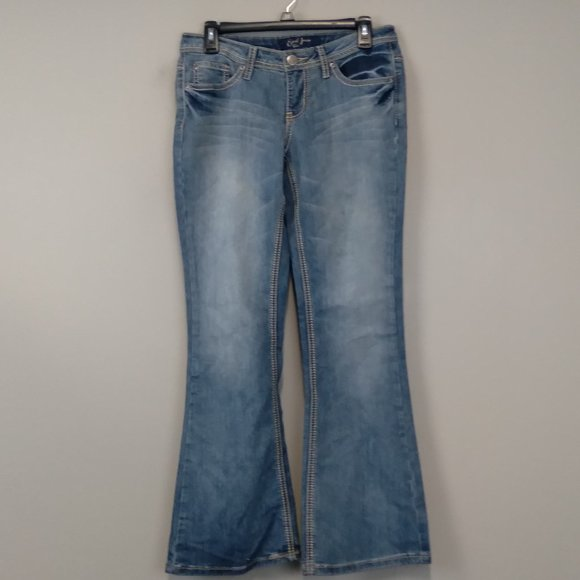 Earl Jean Light Short Blue Denim Flare Leg Jeans